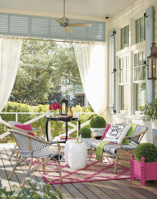 Pink and Blue Furnishings on the Front Porch