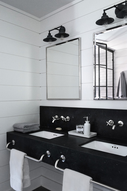 Black and White Bathroom with Double Vanity in Fixer Upper Style