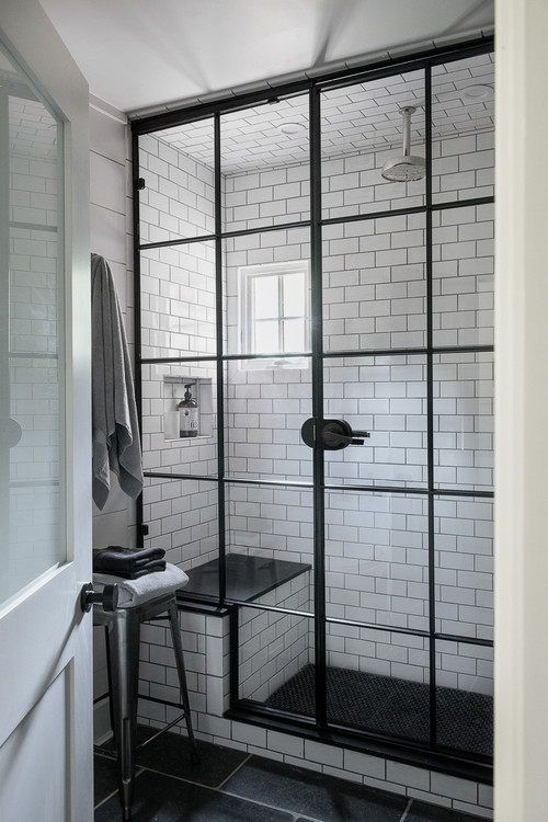 Black and White Bathroom with Walk-In Shower and Subway Tile