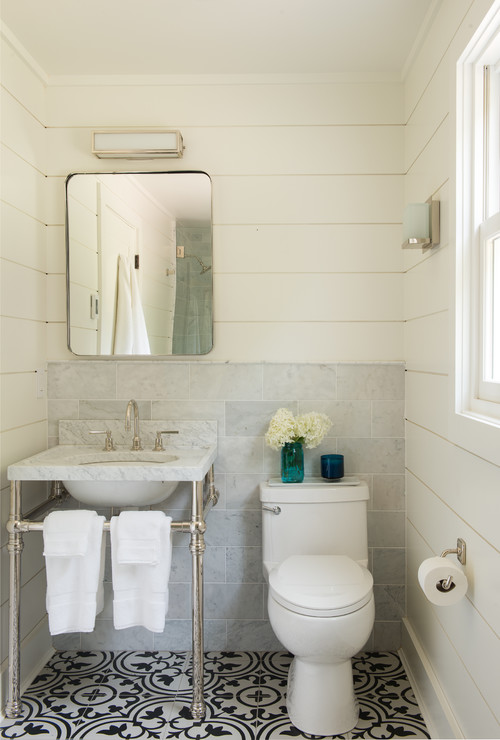 Simple Farmhouse Bathroom with Vintage Medicine Cabinet and Shiplap Walls