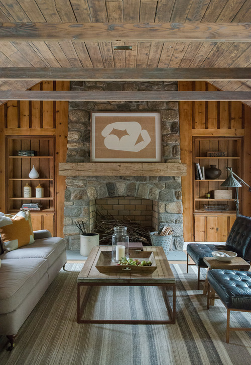 Farmhouse Family Room with Natural Wood Paneled Walls