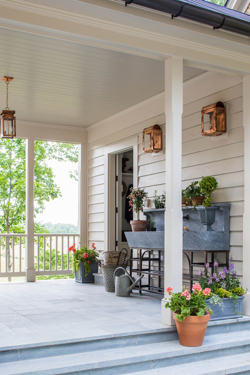 Potting Bench on Farmhouse Porch