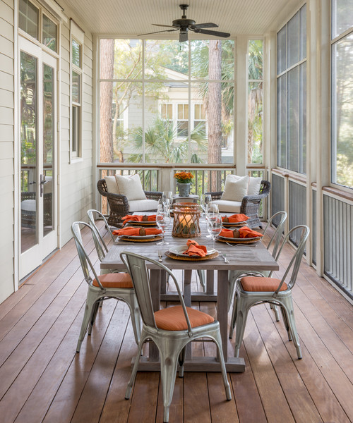 Southern Farmhouse Screened Porch with Dining Table