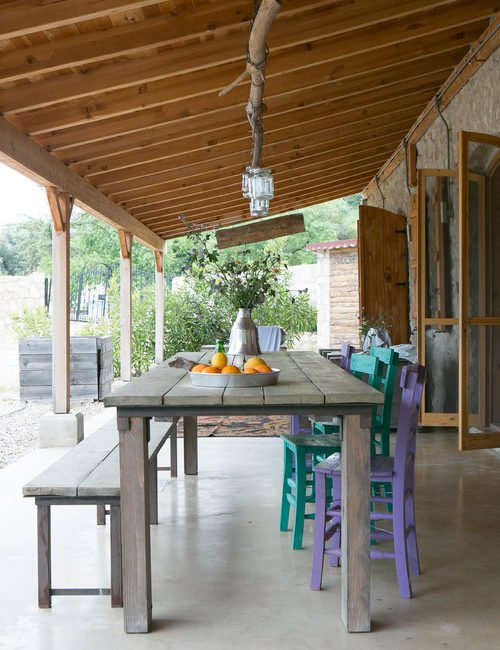 Al Fresco Dining with Farmhouse Table and Painted Chairs