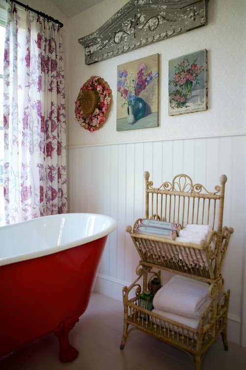 Red Claw Foot Tub in Colorful Bathroom