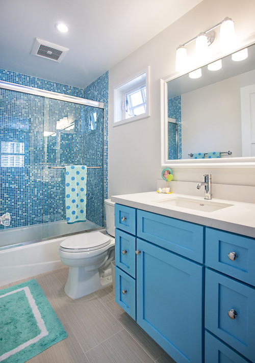 Bold Blue and White Bathroom
