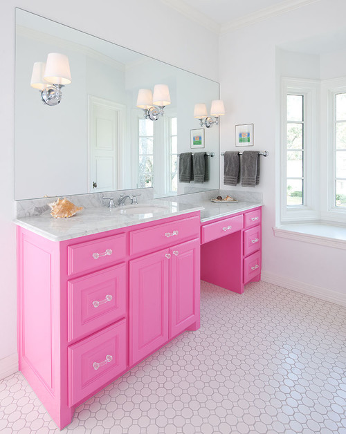 Pink and White Traditional Bathroom