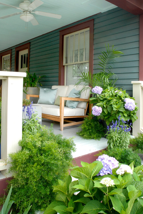Traditional Front Porch with Container Gardens