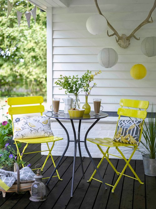 Gray and Yellow Cafe Table on Front Porch