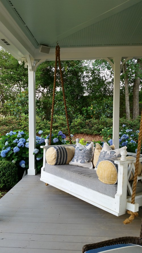 Front Porch Swing and Blue Hydrangeas