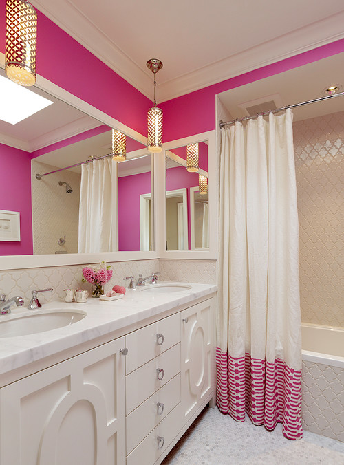 Pink and White Traditional Colorful Bathrooms