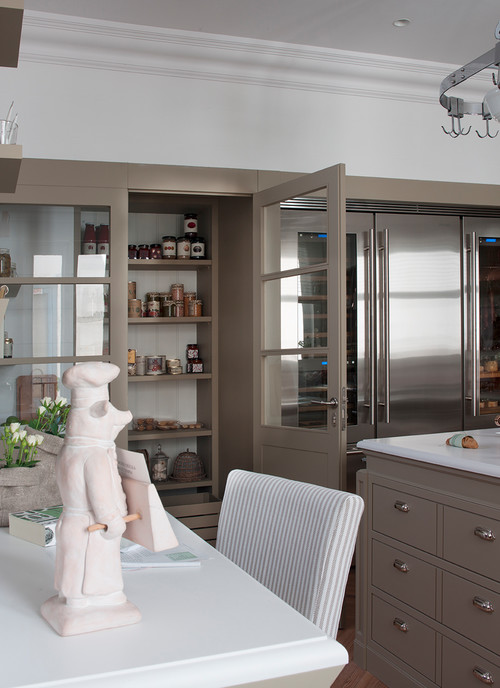 European Style Kitchen with Custom Pantry and Refrigerator