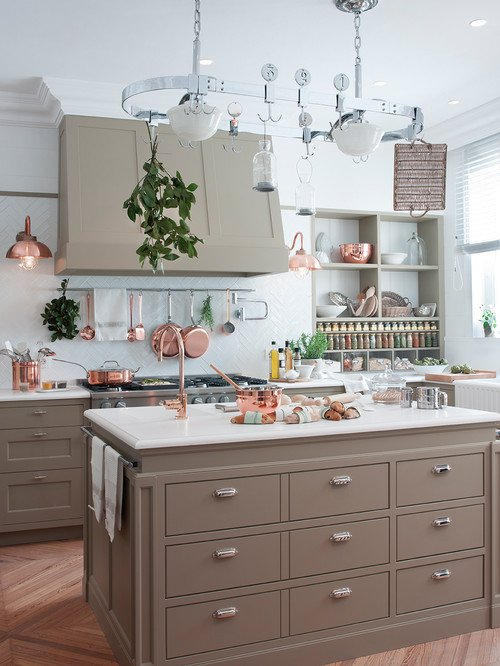 European Style Country Kitchen with Island and Copper Accents