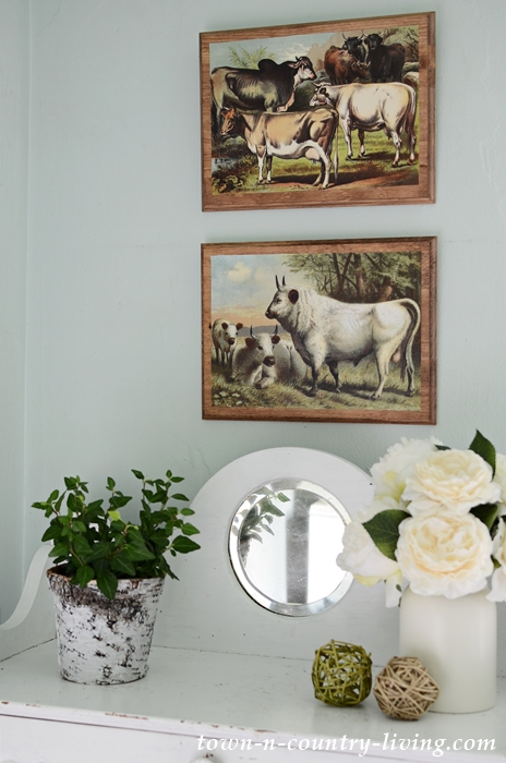 Farmhouse Wall Art with Vintage Cow Printables