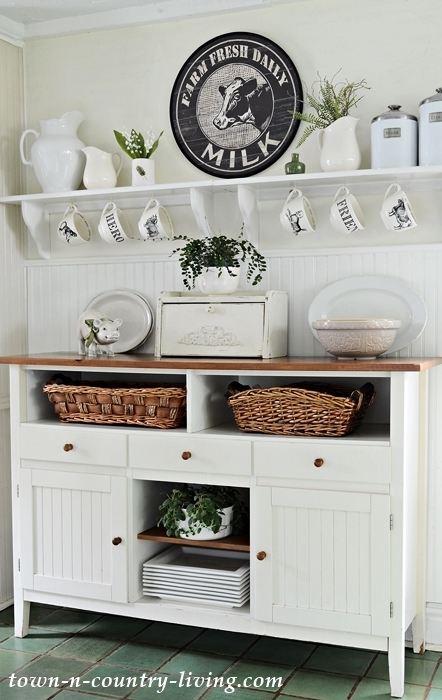 Free Standing Hutch with Open Shelving in Country Inspired Kitchen