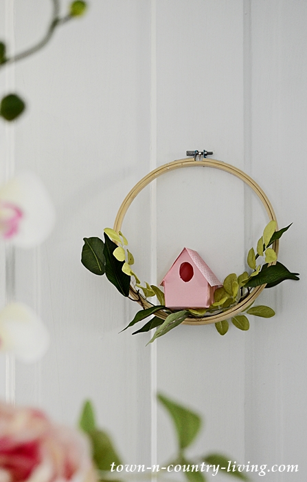 Pink DIY Paper Birdhouse Wreath