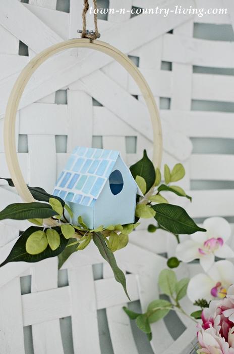 Blue DIY Paper Birdhouse Wreath