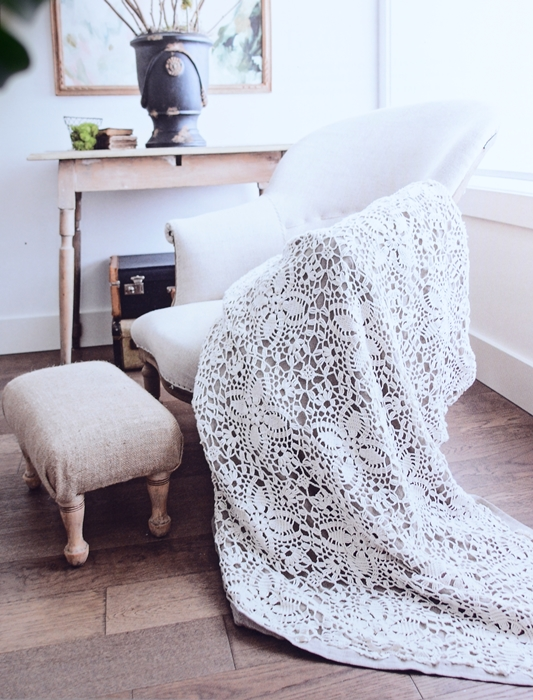 Crochet Throw Blanket with Vintage Chair