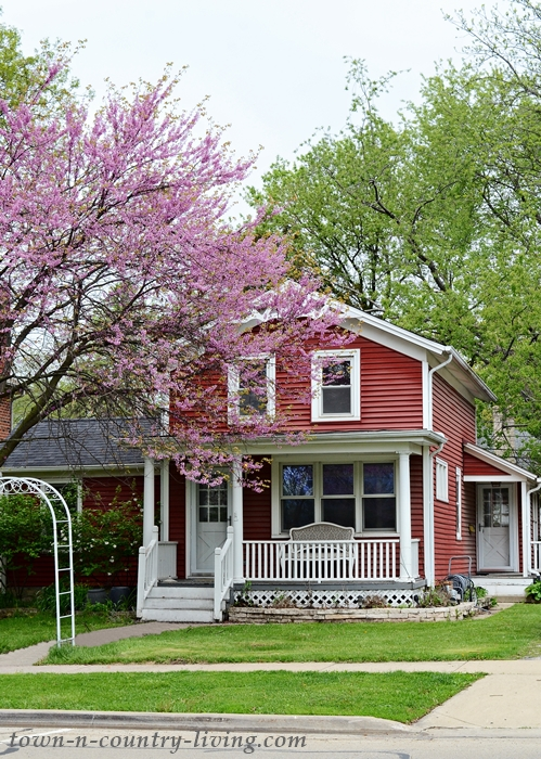 Red Historic Clapboard Home with Front Porch