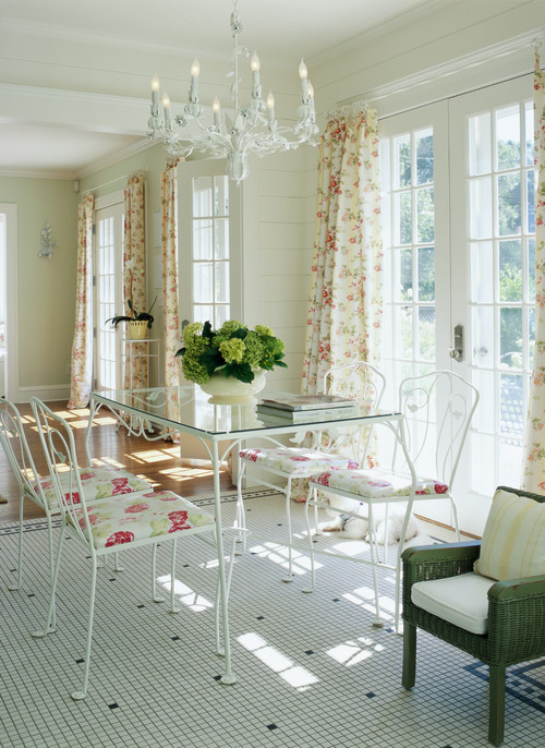 Garden Style Dining Room with Wrought Iron Table