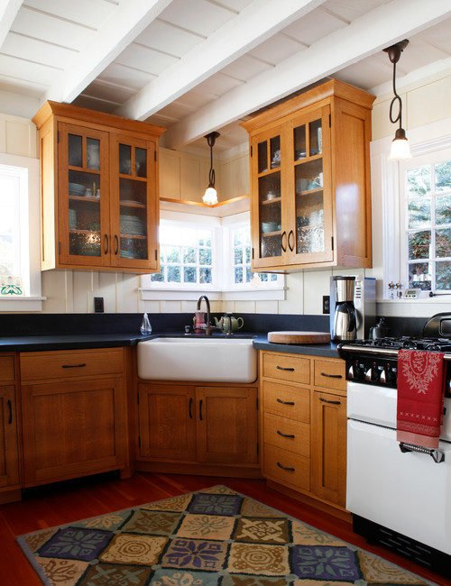 Wood Kitchen Cabinets and Painted Vault Ceiling
