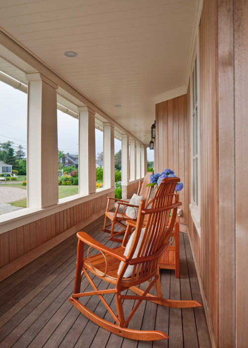 Wood Rocking Chairs on Beach Style Porch