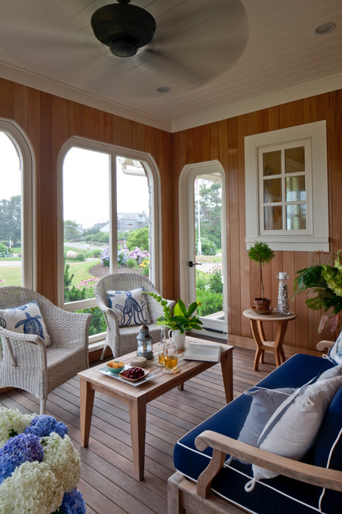 Paneled Summer Porch with Ceiling Fan