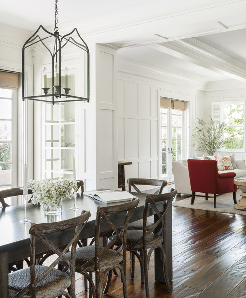 Farmhouse Dining Room with Rustic Table and Crossback Chairs
