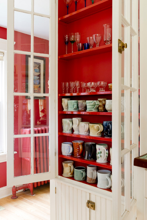 New England Farmhouse Hutch with Vintage Mugs