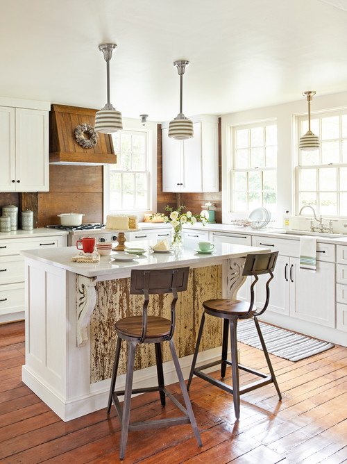 Shabby Chic Style Kitchen in White with Natural Wood