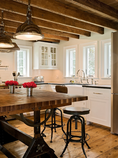 Wood Ceiling and Wood Floor in Earth Tone Kitchen