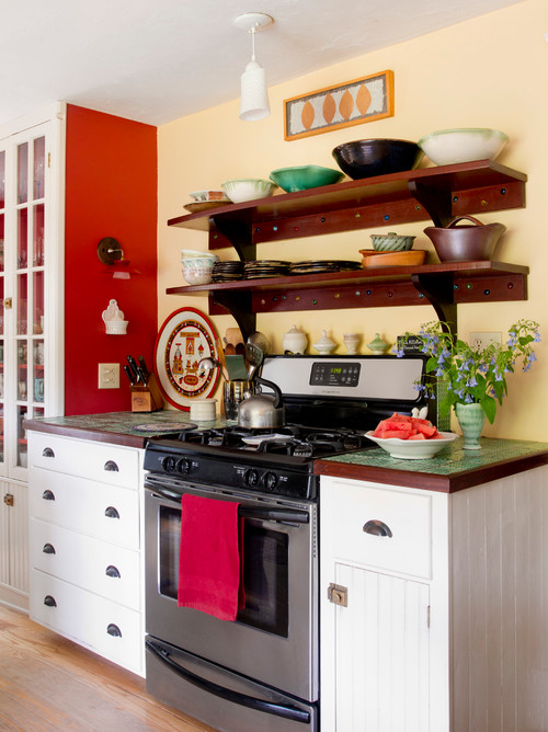 New England Farmhouse Kitchen in Red and Yellow