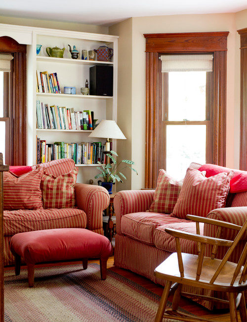 Red and White Farmhouse Living Room