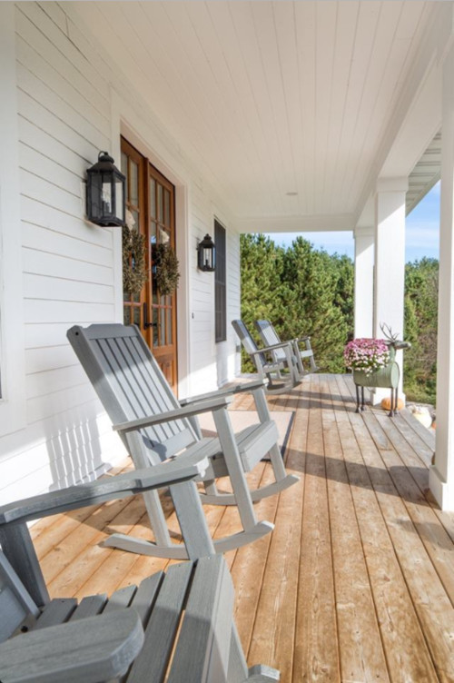 Gray Rockers on Farmhouse Porch