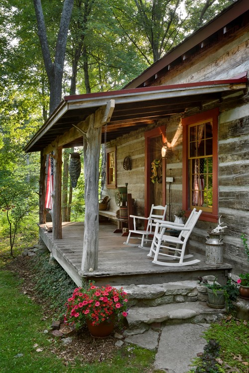 White Rocking Chairs on Cabin Porch