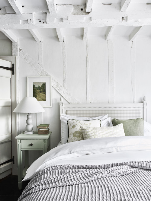 White Scandinavian and Shabby Chic Style Bedroom