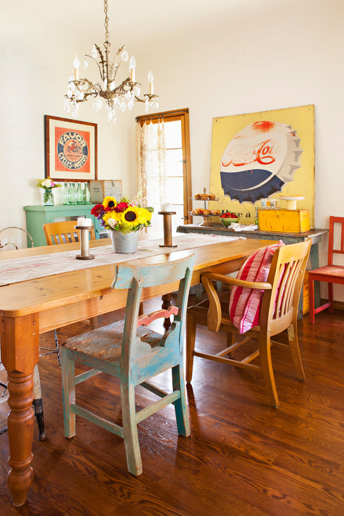 Bright and Colorful Eclectic Dining Room with Pepsi Cola Sign