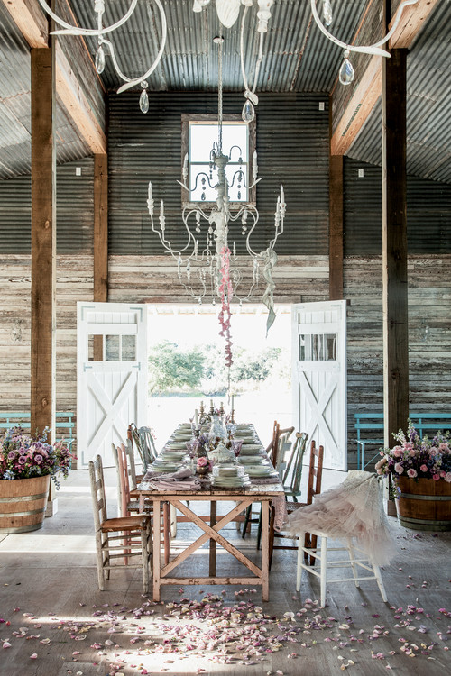 Romantic Prairie Dining in Rustic Barn