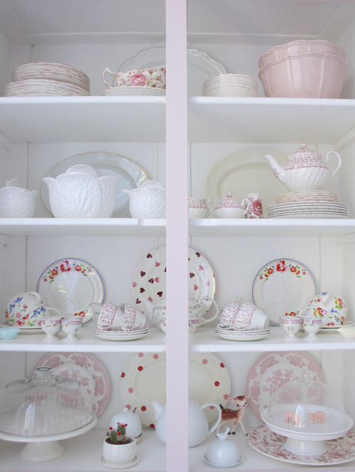 Pink and White Vintage China on Display