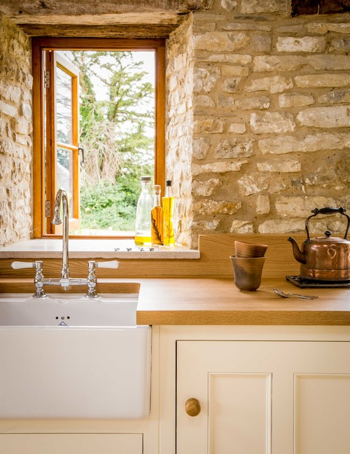 Country English Kitchen with Stone Wall