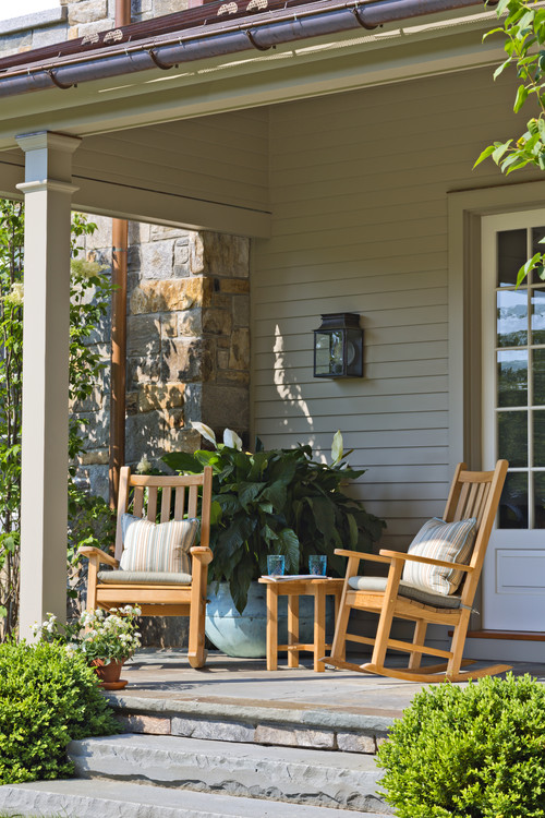 Classic Front Porch with Wooden Rocking Chairs