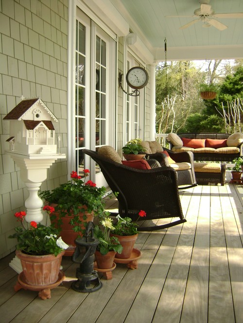 Brown Wicker Furniture on Traditional Porch