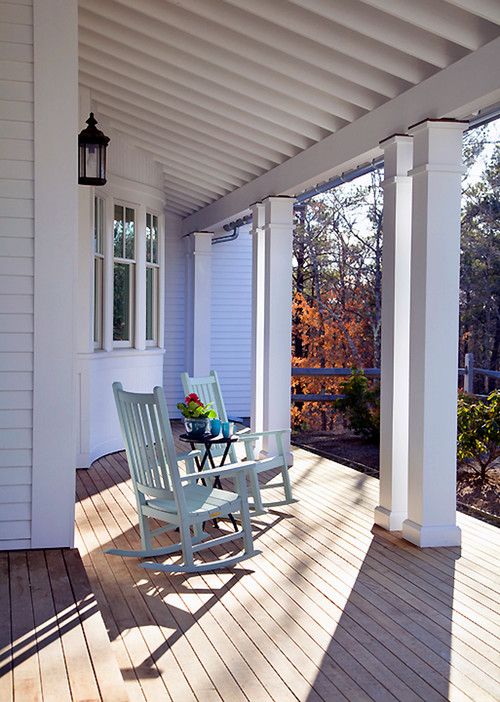Classic Front Porch with Rocking Chairs