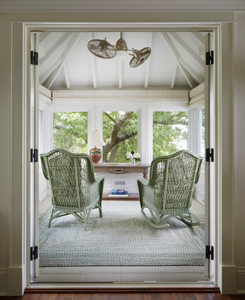 Sun Room with Wicker Rocking Chairs