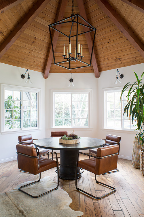 Breakfast Nook with Vaulted Wood Ceiling