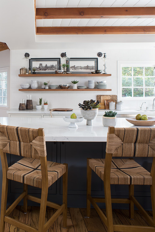Kitchen Island with Woven Fabric Bar Stools