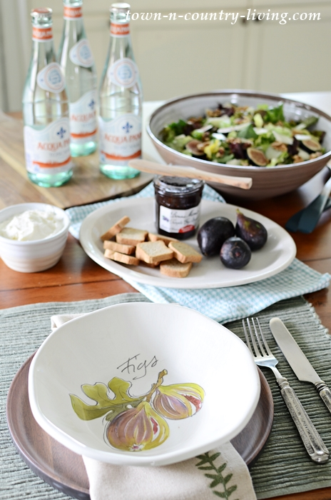 Cozy Kitchen for a Healthy Summer Meal of Salad and Figs