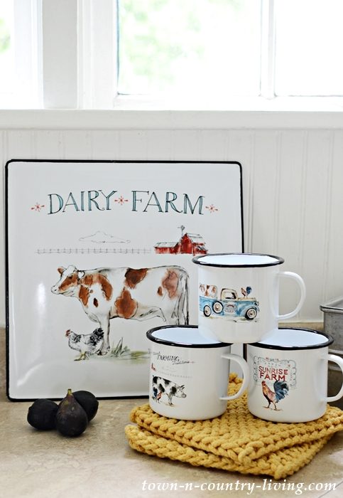 Enamel Dairy Farm Sign in Country Kitchen