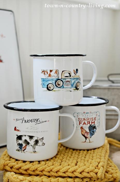 Enamelware mugs in farmhouse motifs