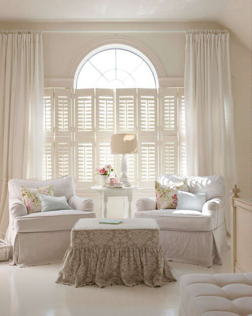 White Shabby Chic Living Room with Slip Covered Furniture